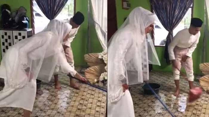 Kompak, Masih Pakai Baju Pengantin, Kedua Mempelai Bersihkan Rumah dari Banjir