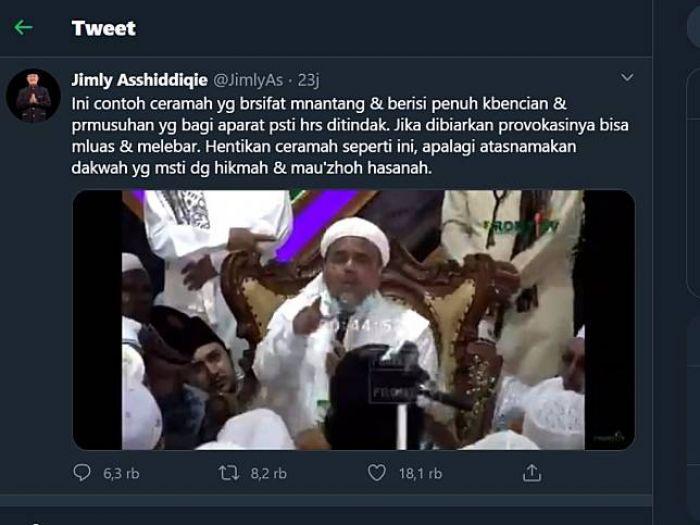 Tanggapi Ceramah Habib Rizieq, Jimly: 'Ceramah penuh kebencian dan permusuhan harus dihentikan'
