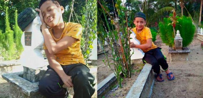 Haru, Anak Autisme Peluk dan Cium Nisan Ibunya yang Meninggal 7 Tahun Lalu