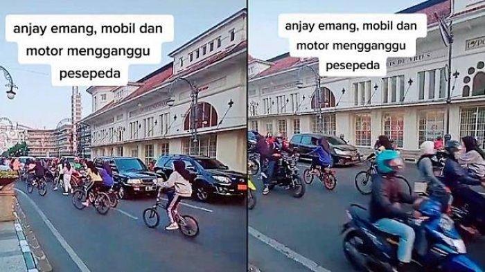 Rombongan Pesepeda Viral di Medsos, Sembrono Lawan Arus Di Jalanan Padat