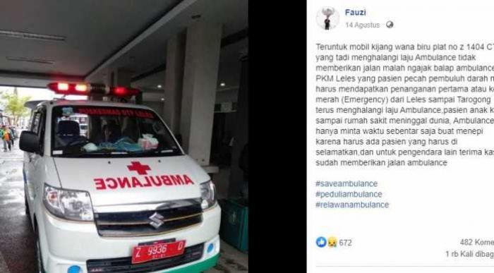 Kronologi Pengemudi Mobil yang Sengaja Halangi Ambulans Hingga Pasien Tewas